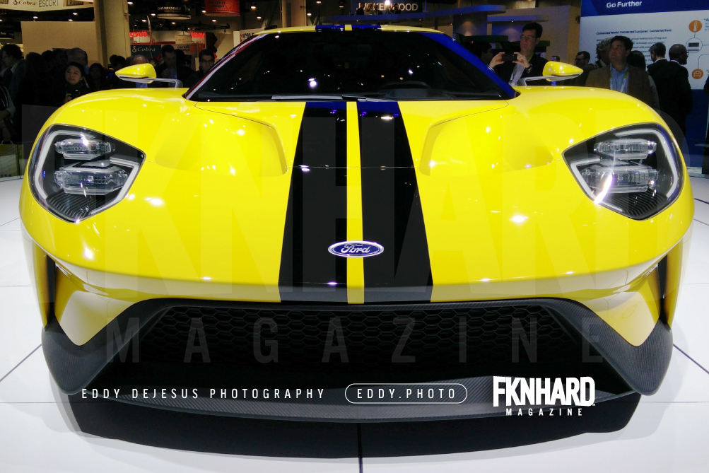 eddy-dejesus-photography-fknhard-magazine-ces-2016-yellow-ford-gt-90-2017-hood-vent-headlights-grill-closeup