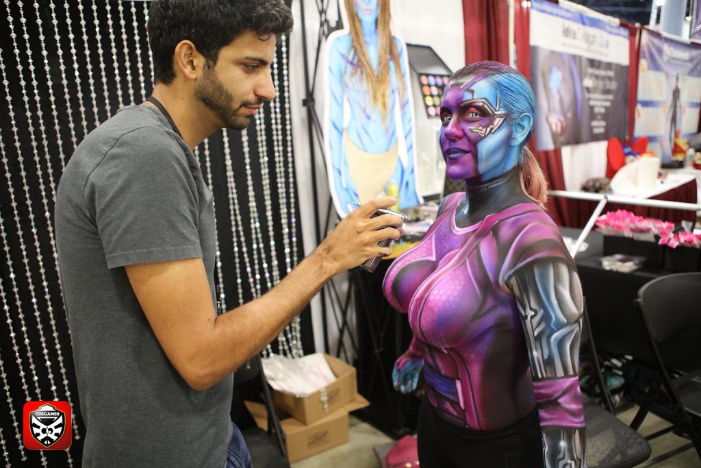 cosgamer-6-fknhard-magazine-cosplay-gaming-hottie-babes-top-10-supercon-2016-miami-beach-july4-airbrush-bodypaint-guardian-of-the-galaxies-airbrushhero-avi-ram-michelle-zymet-nebulq